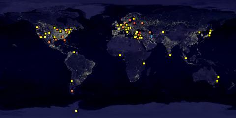 نقشه برگزاری شب یوری در سراسر جهان