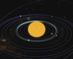 This is a still from the Habitable Zone animation that shows a sun with several planets orbiting it.