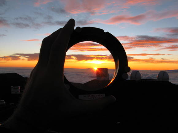 Looking at the sunset on Mauna Kea through IRPOL. Credit: U of Hawaii