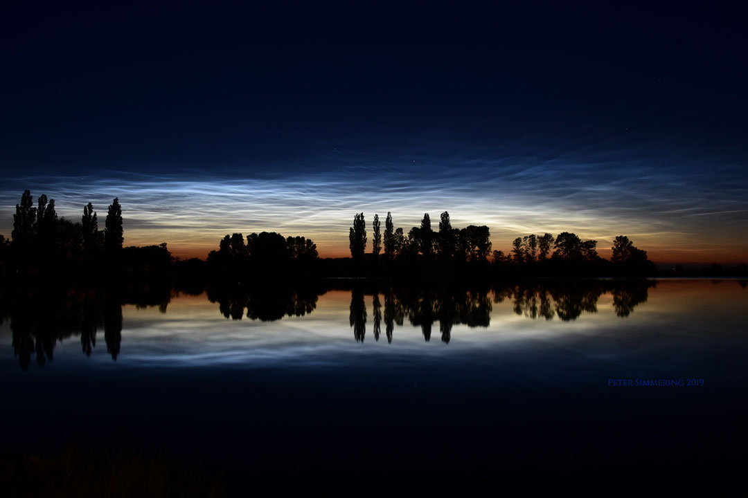 Noctilucent Clouds, Reflections, and Silhouettes